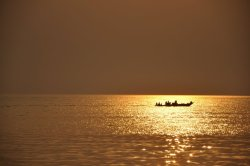 Field work: Tanganyika fisherman going back home after a day of work